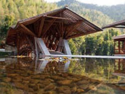 Crosswaters Ecolodge, reflection pool, bamboo bridge